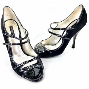 Dolce & Gabbana Black Suede Patent Leather Pumps